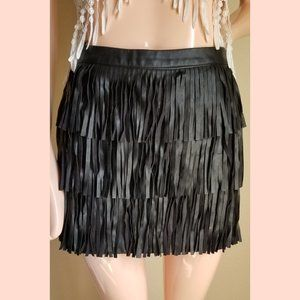 Vegan Leather Fringe Mini Skirt